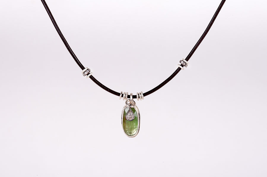 Green Kyanite Solstice Leather Necklace