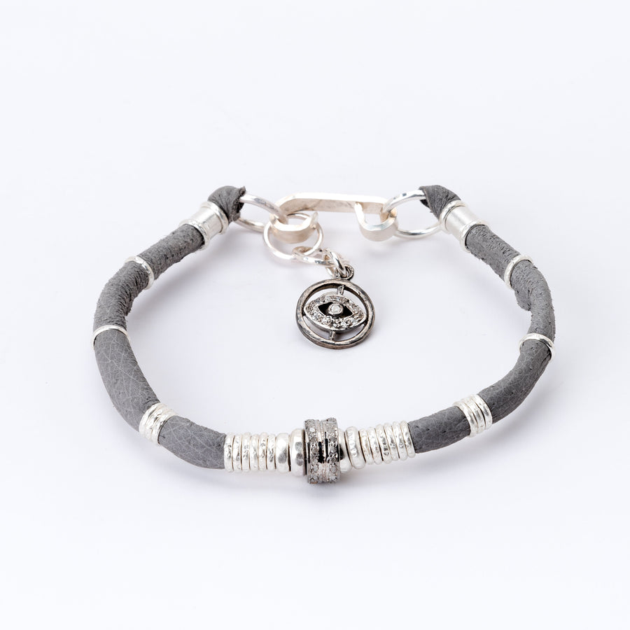 Pavé Diamond Barrel Dark Grey Leather Bracelet