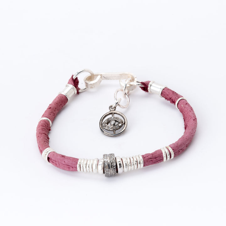 Pavé Diamond Barrel Dusty Rose Leather Bracelet