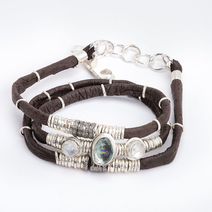 Moss Aquamarine, Moonstone & Pavé Diamond Espresso Brown Leather Wrap