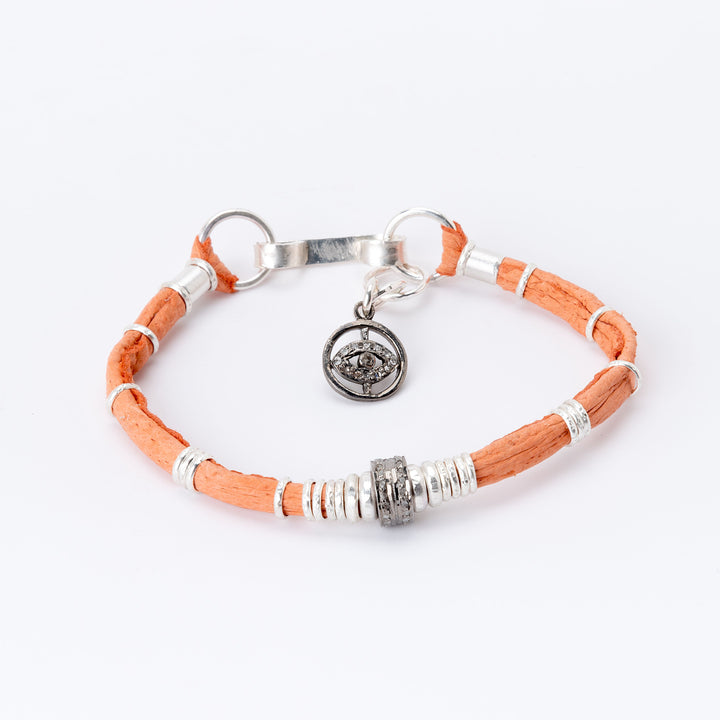 Pavé Diamond Barrel Tangerine Leather Bracelet