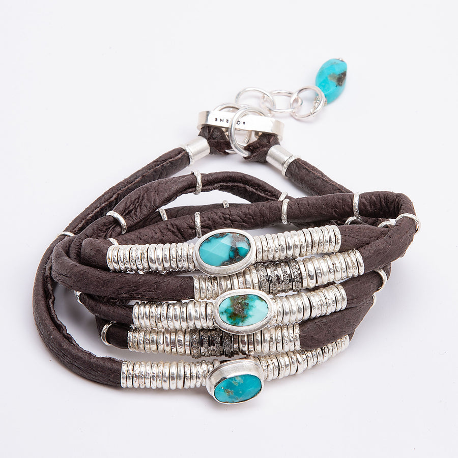 Turquoise and Pavé Diamond Espresso Brown 5 Wrap Leather Bracelet