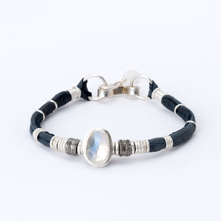 Moonstone & Pavé Diamond Navy Blue Leather Bracelet