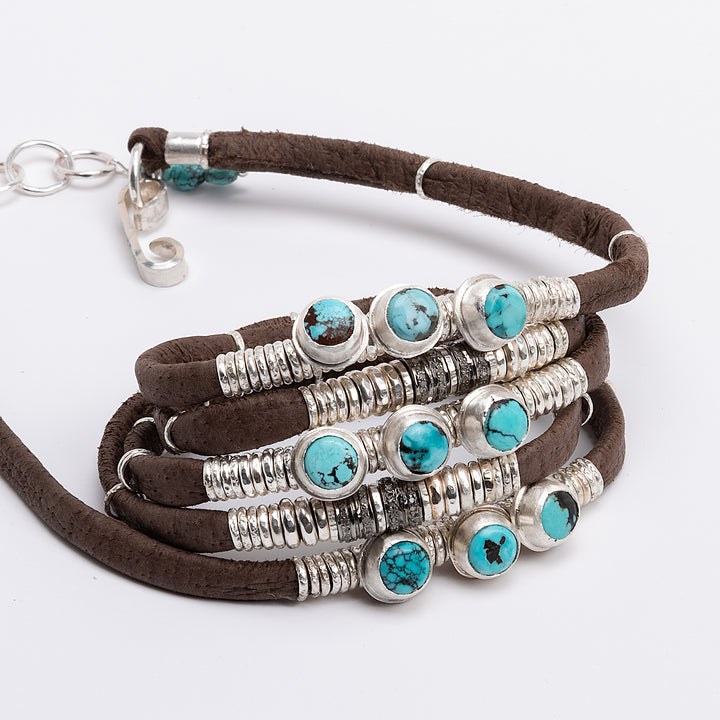 Round Kingman Turquoise & Pavé Diamond Chocolaté Brown Leather 5 Wrap