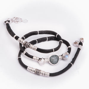 BLUE TOURMALINE AND MOONSTONE WITH PAVE DIAMOND ESPRESSO BROWN LEATHER WRAP