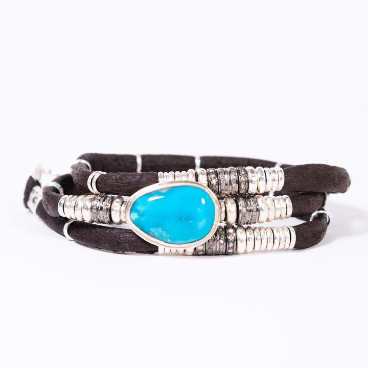 Kingman Turquoise and Pavé Diamond Espresso Brown Leather Wrap