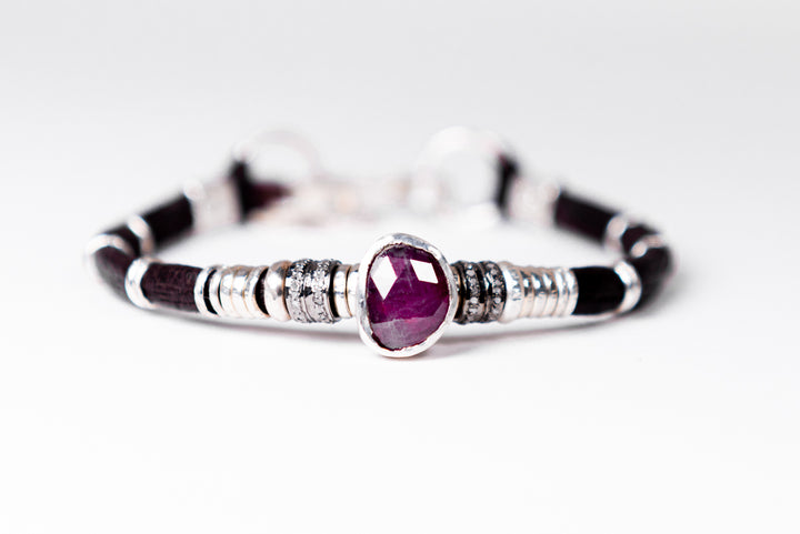 Ruby & Pavé Diamond Leather Bracelet