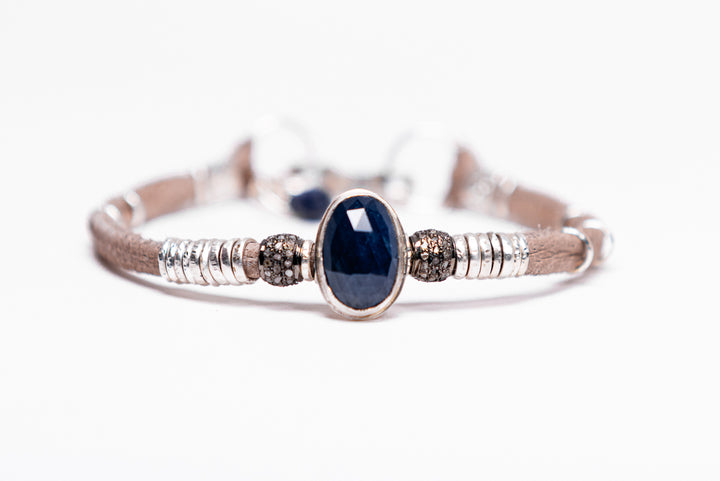 Blue Sapphire & Pavé Diamond  Leather Bracelet