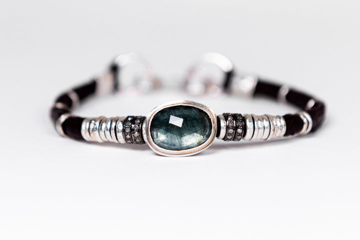 Moss Aquamarine & Pavé Diamond Leather Bracelet