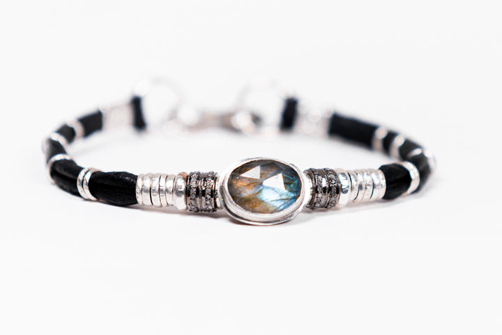 Labradorite & Pavé Diamond Leather Bracelet