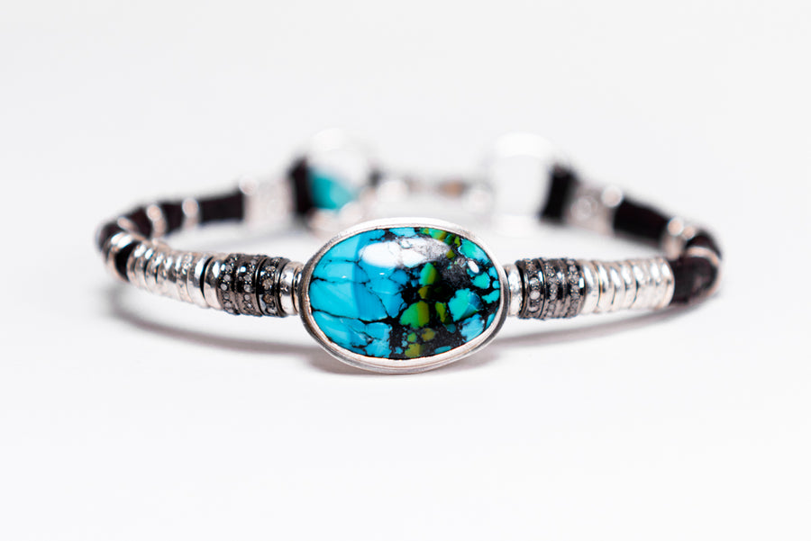 Turquoise & Pavé Diamond Leather Bracelet