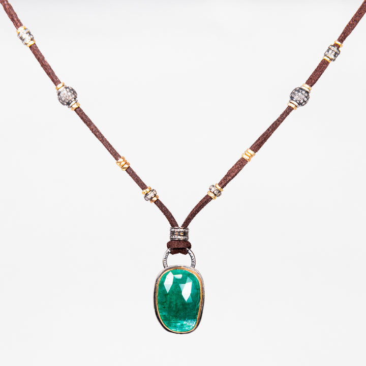 Green Onyx with Gold and Pavé Diamond Leather Necklace