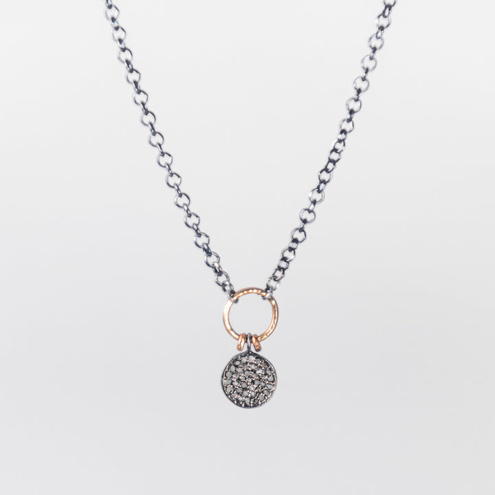 Pavé Diamond Disc with Gold and Sterling Necklace