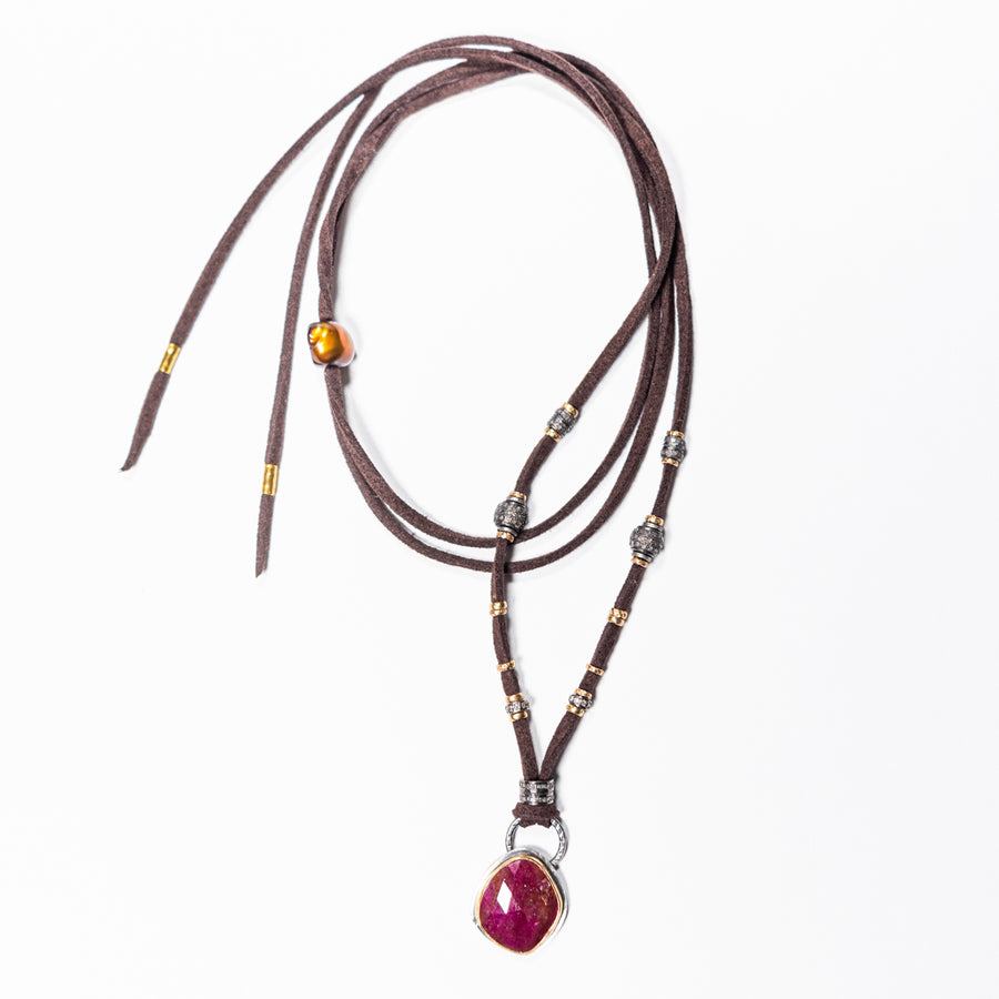 Ruby With Gold & Pavé Diamond Leather Necklace