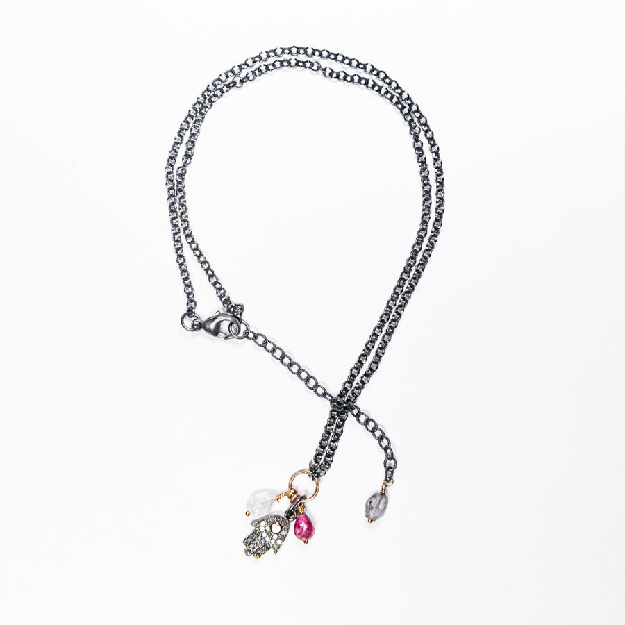 Pavé Diamond Hamsa with Gold and Sterling Silver Necklace