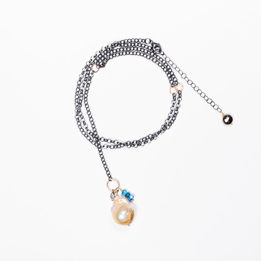 Baroque Pearl with Pavé Diamond and Gold, Sterling Silver Necklace