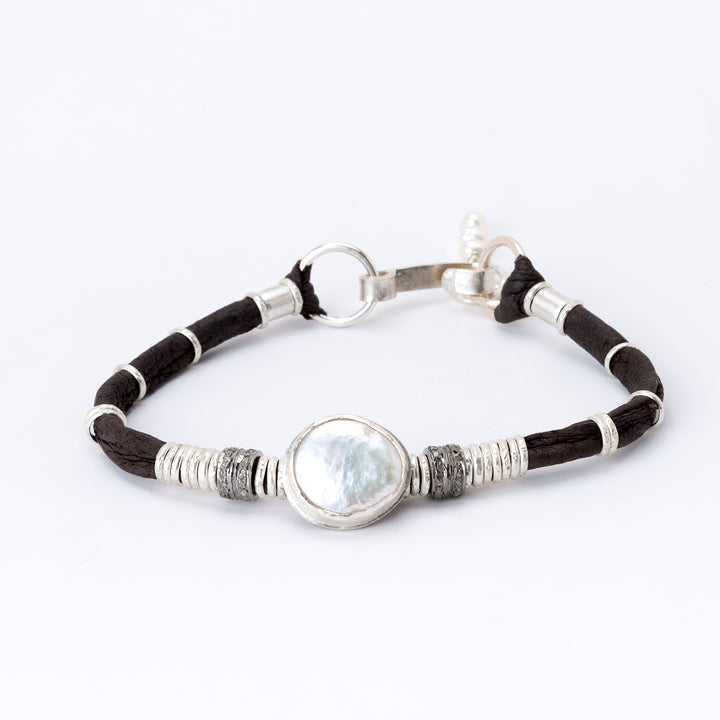 Pearl & Pavé Diamond Espresso Brown Leather Bracelet