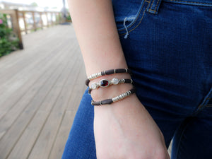 Dark Maroon Tourmaline and Moonstones Espresso Leather Wrap