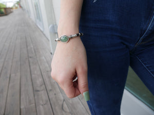 Chrysoprase & Pavé Diamond Leather Bracelet
