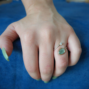 Moss Aquamarine and Gold Open Wrap Ring