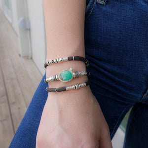 Green Chyroprase and Pavé Diamond Espresso Brown Leather Wrap