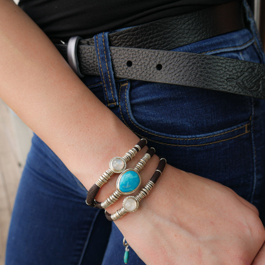 Kingman Turquoise and Moonstones Espresso Brown Leather Wrap