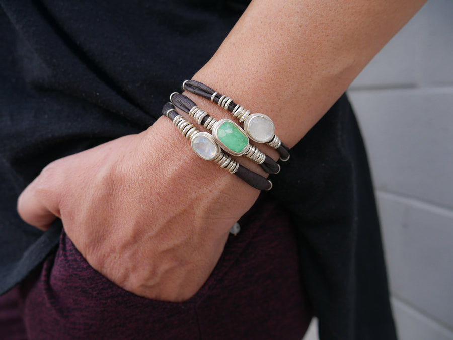 Bright Green Tourmaline and Moonstones Espresso Leather Wrap