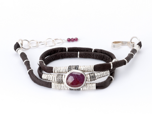 Ruby & Pavé Diamond Espresso Brown Leather Wrap