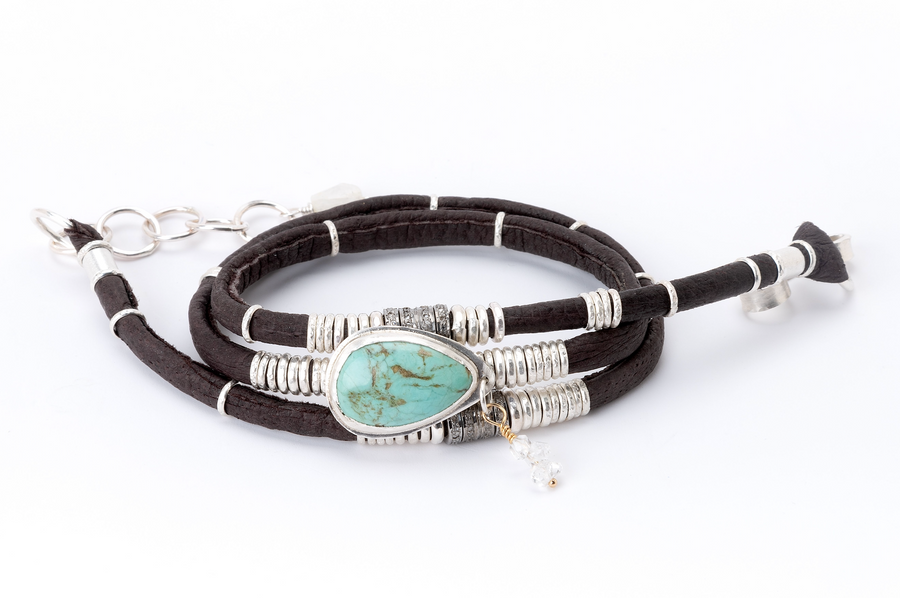 Turquoise Evil Eye, Herkimer Diamond & Pavé Diamond Espresso Brown Leather Wrap
