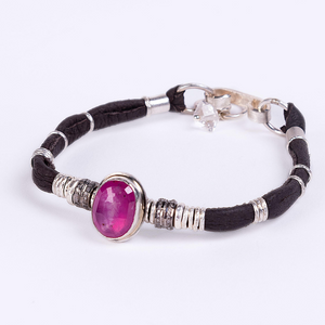 MADAGASCAR RUBY AND PAVE DIAMOND ESPERSSO BROWN LEATHER BRACELET