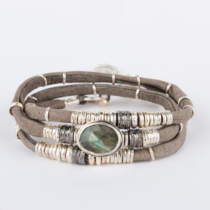 Labradorite and Pavé Diamond Graphite Grey Leather Wrap Bracelet
