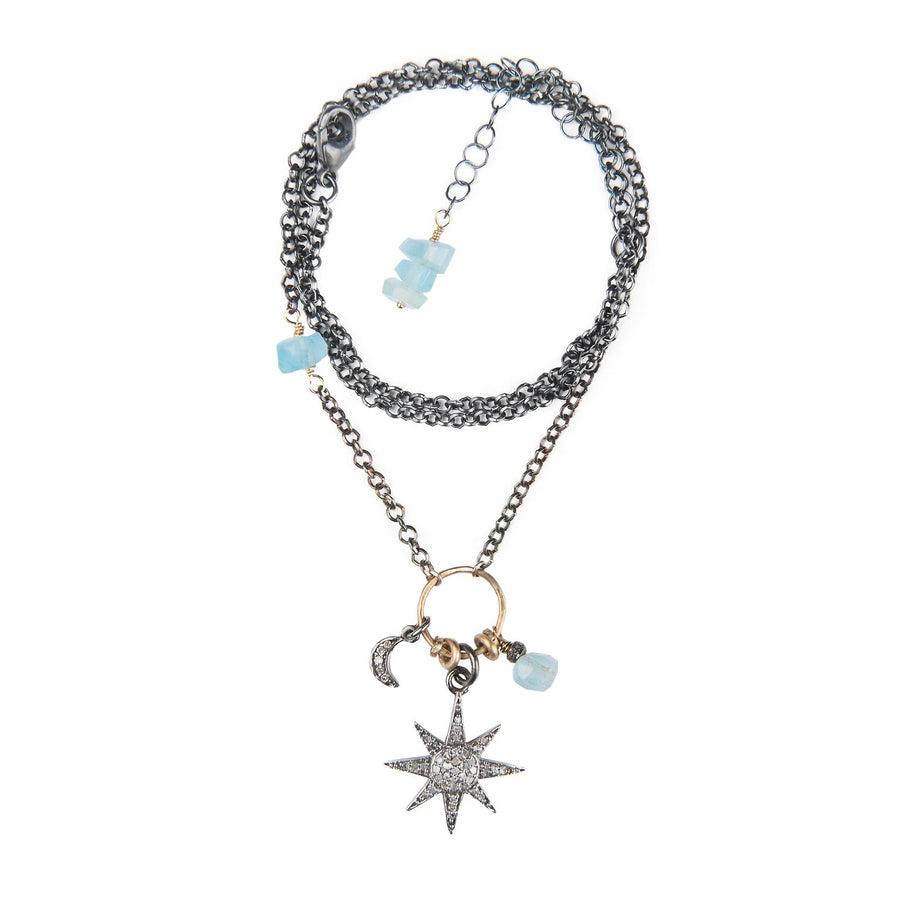 Aquamarine and Pavé Diamond Starburst Necklace