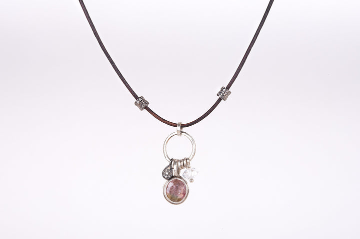 Watermelon Tourmaline Solstice Leather Necklace