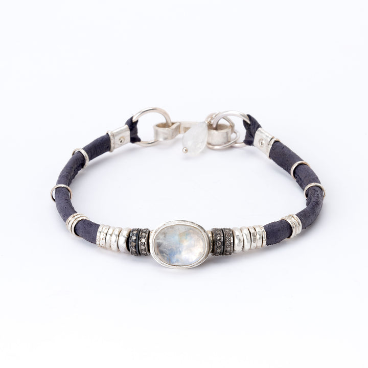 Moonstone & Pavé Diamond Purple Leather Bracelet
