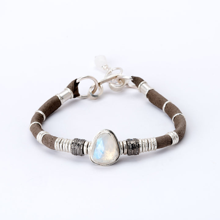 Moonstone & Pavé Diamond Graphite Grey Leather Bracelet