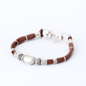 Moonstone & Pavé Diamond Saddle Brown Leather Bracelet