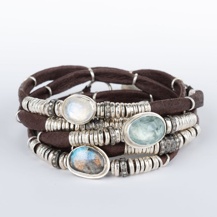Blue Tourmaline, Labradorite, Moonstone & Pavé Diamond Chocolate Brown 5 Wrap Leather Bracelet