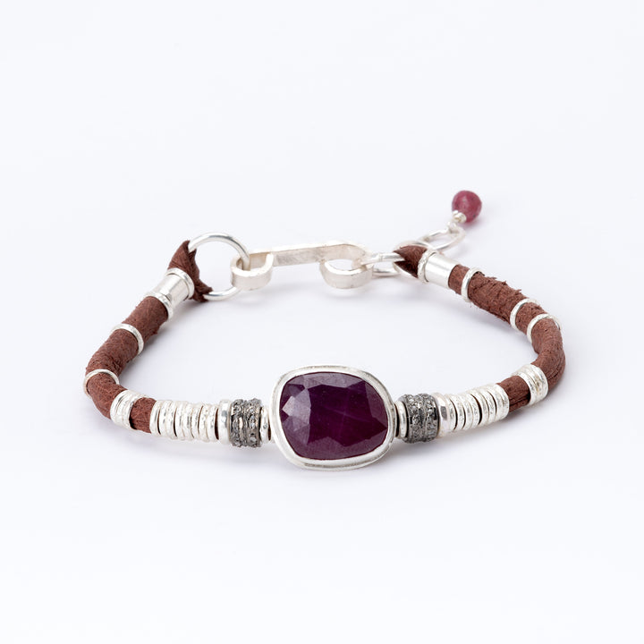 Ruby & Pavé Diamond Saddle Brown Leather Bracelet