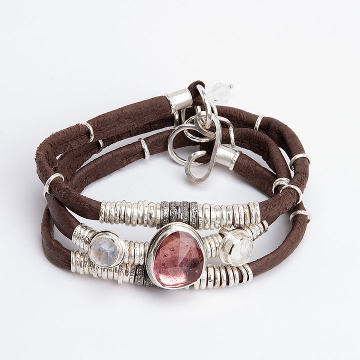 Pink Tourmaline, Moonstone & Pavé Diamond Chocolate Brown Leather Wrap