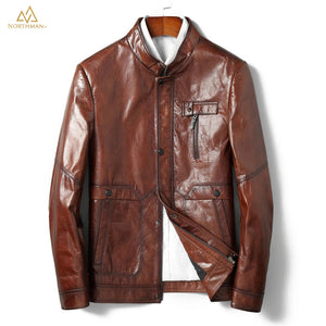 The Meteorite leather jacket in Brown