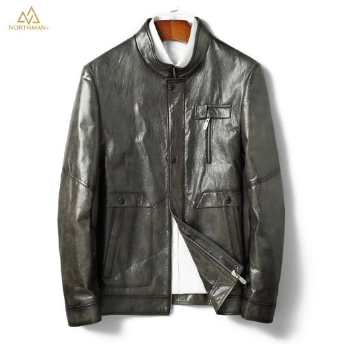 The Meteorite leather jacket in Olive