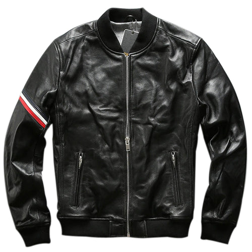 Men's Slim fit leather bomber jacket : The Lining bomber