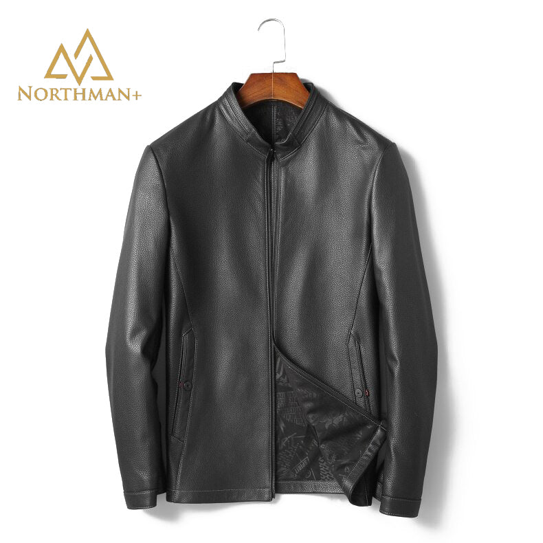 Pebble grain leather jacket