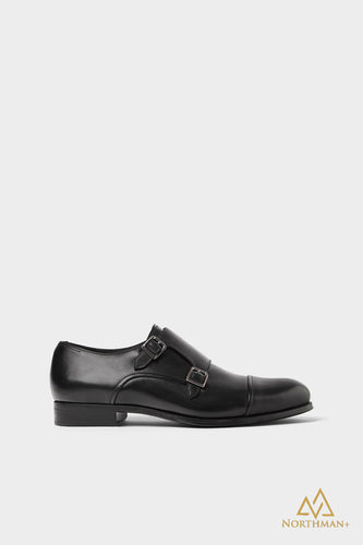 Toe Cap Double Monkstrap in Black