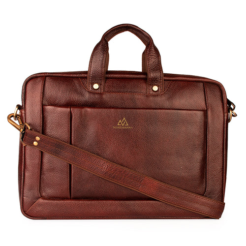 Zip-around briefcase bag in Burgundy brown