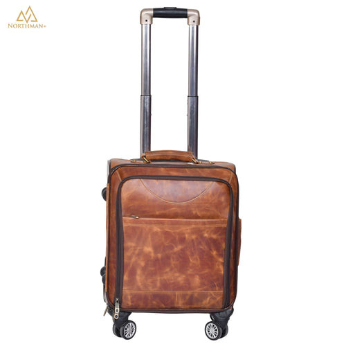 Highflyer 8 Wheel Leather Roller Case (Rustic Brown)