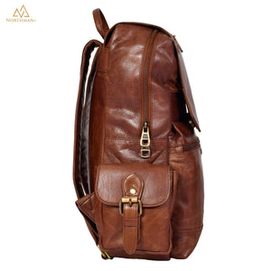 Mini multipocket backpack with flapped pocket in dark brown