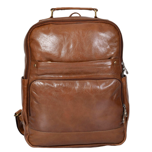 Leather backpack Minimal in Tan brown