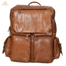 Mini multipocket backpack with flapped pocket in light brown