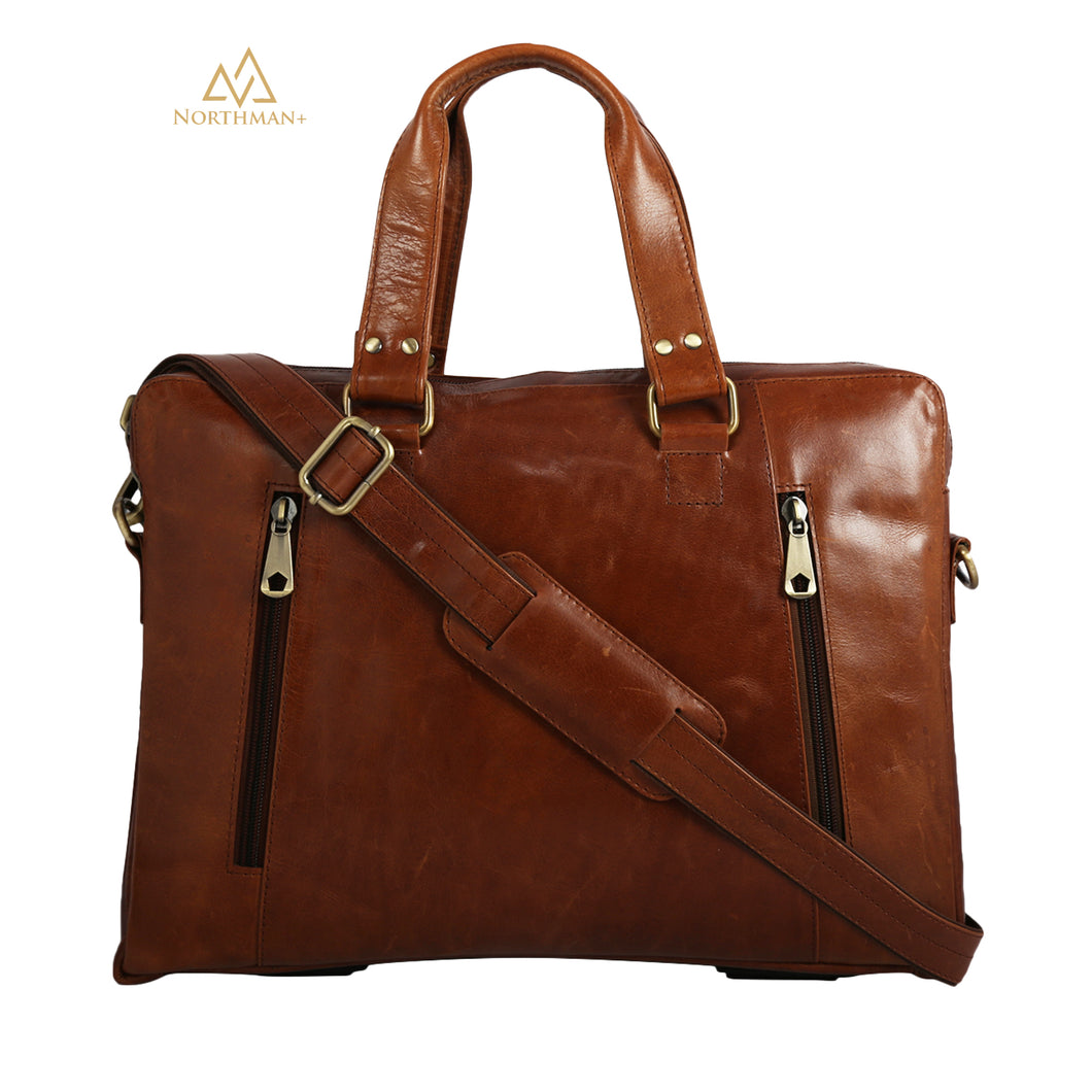 Zipped Pocket Messenger bag Tan Brown